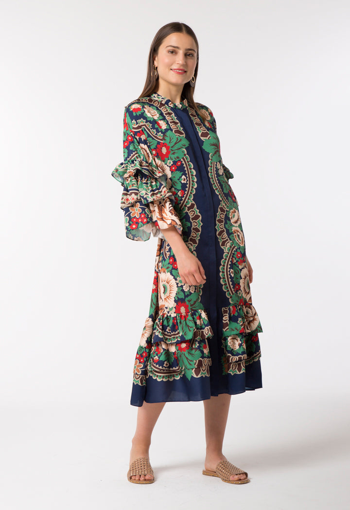 Choice Vintage Floral Frill Dress Oxford Bloom