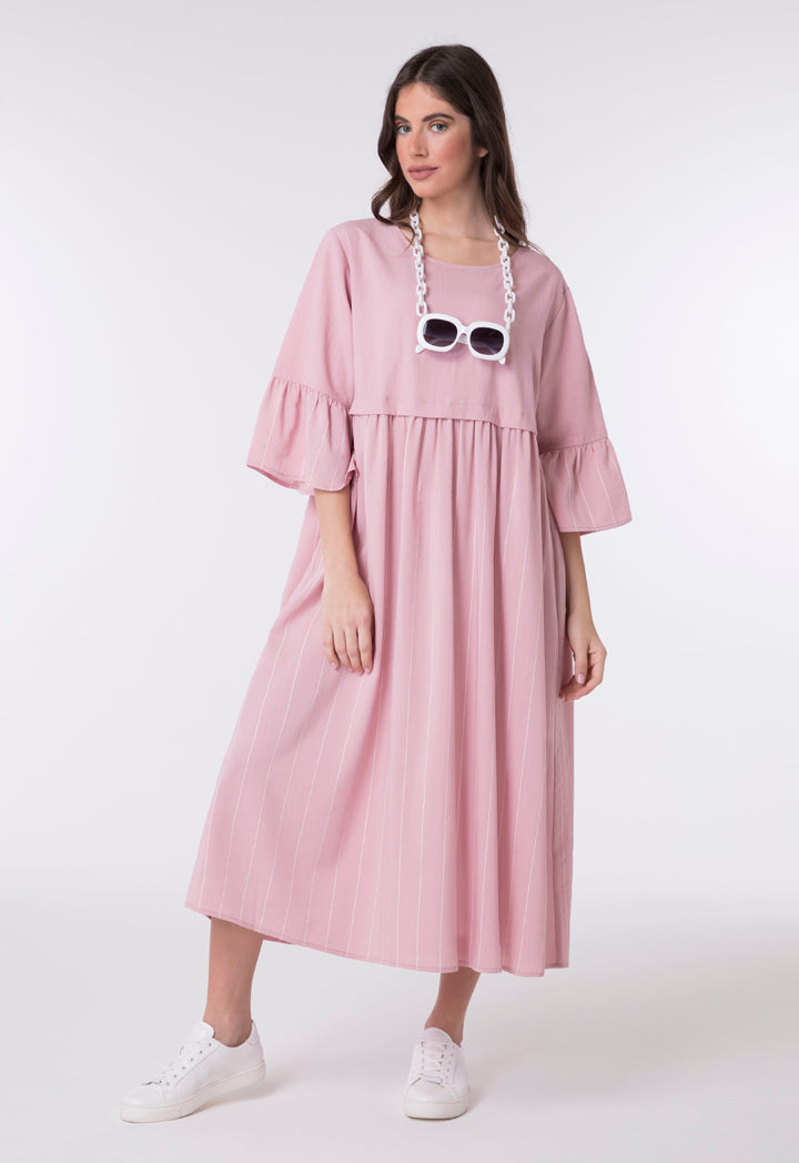 Choice A-Line Striped Pattern Dress Blush - Wardrobe Fashion