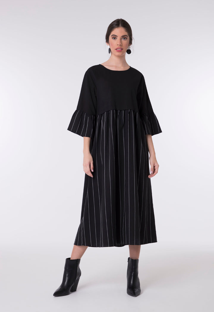 Choice A-Line Striped Pattern Dress Black - Wardrobe Fashion
