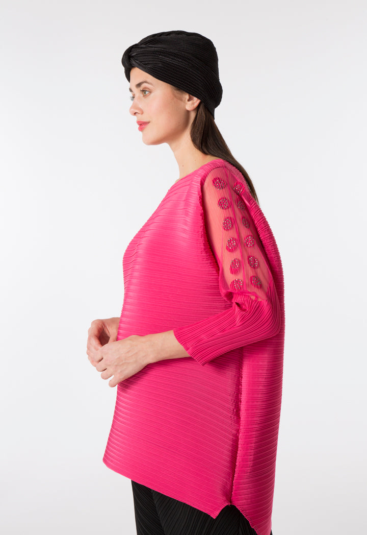 Choice Micro Pleated Blouse Fuchsia