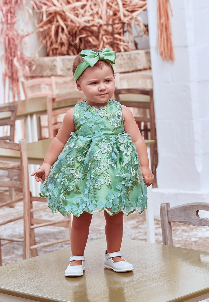 Petit Green Embroidered Dress Green
