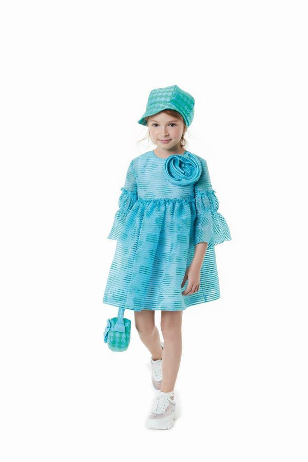 Valmax Light Blu Dress With Applique Rose Light Blue