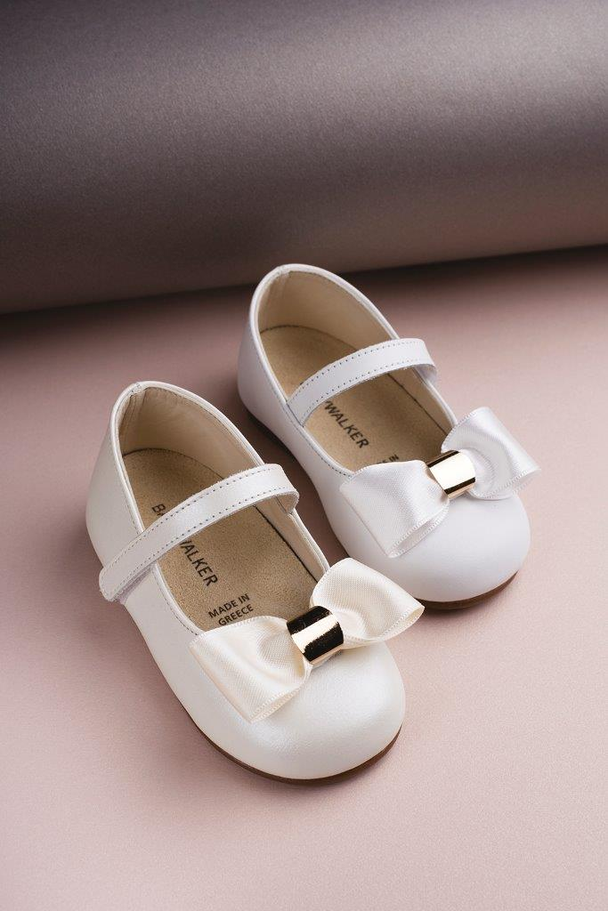 Baby Walker  Satin Bow W/Gld Det Embl White