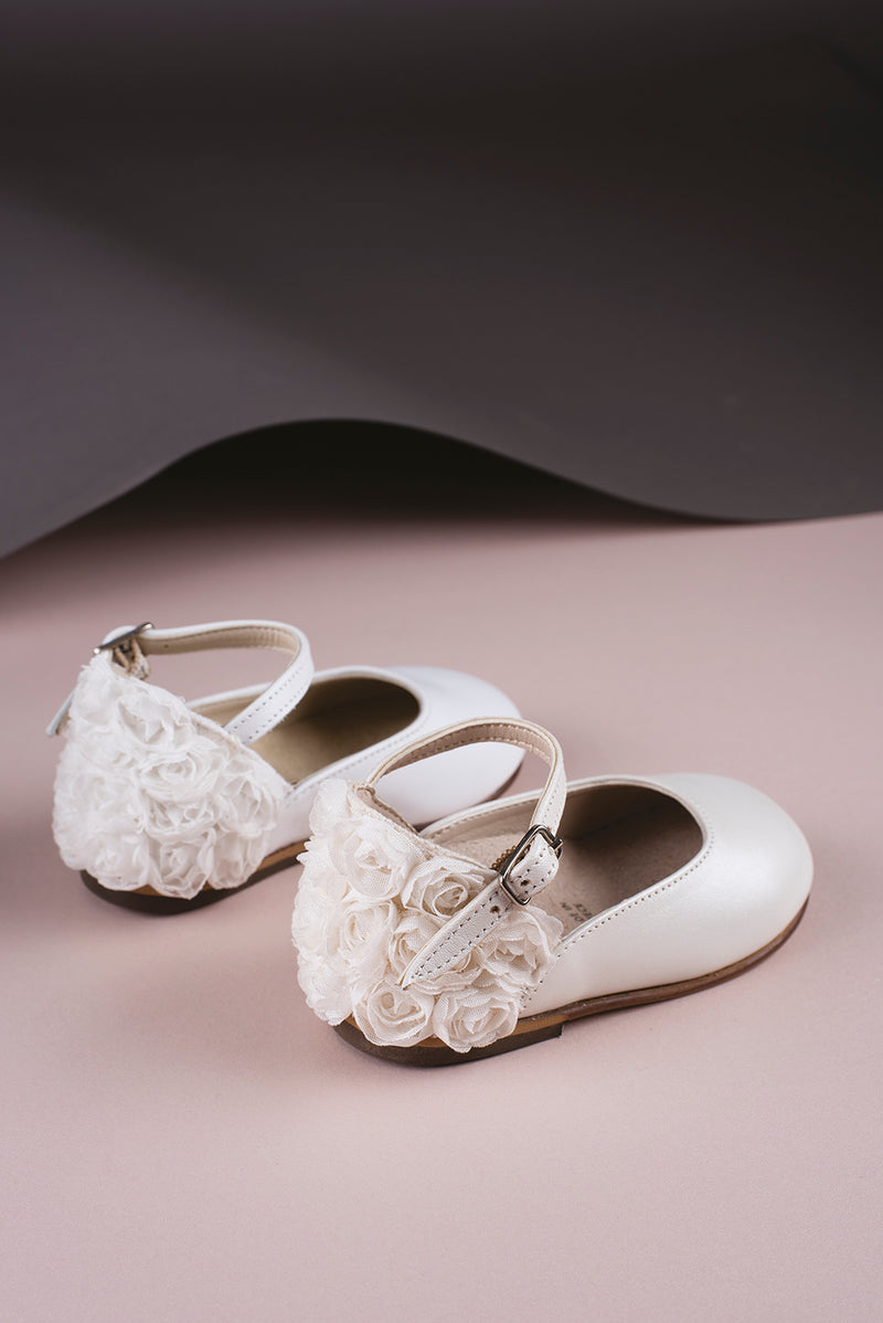 Baby Walker  Leather Chiffon Flrs Heel E White