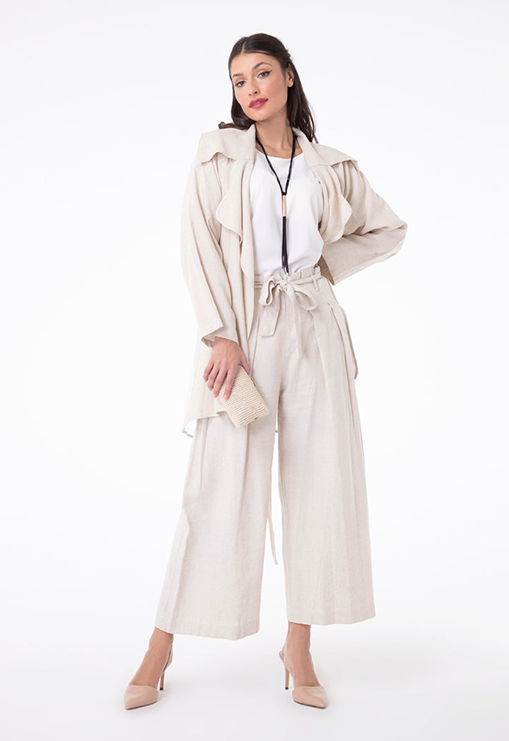 Choice Oversized Pleated Linen Square Pants Beige