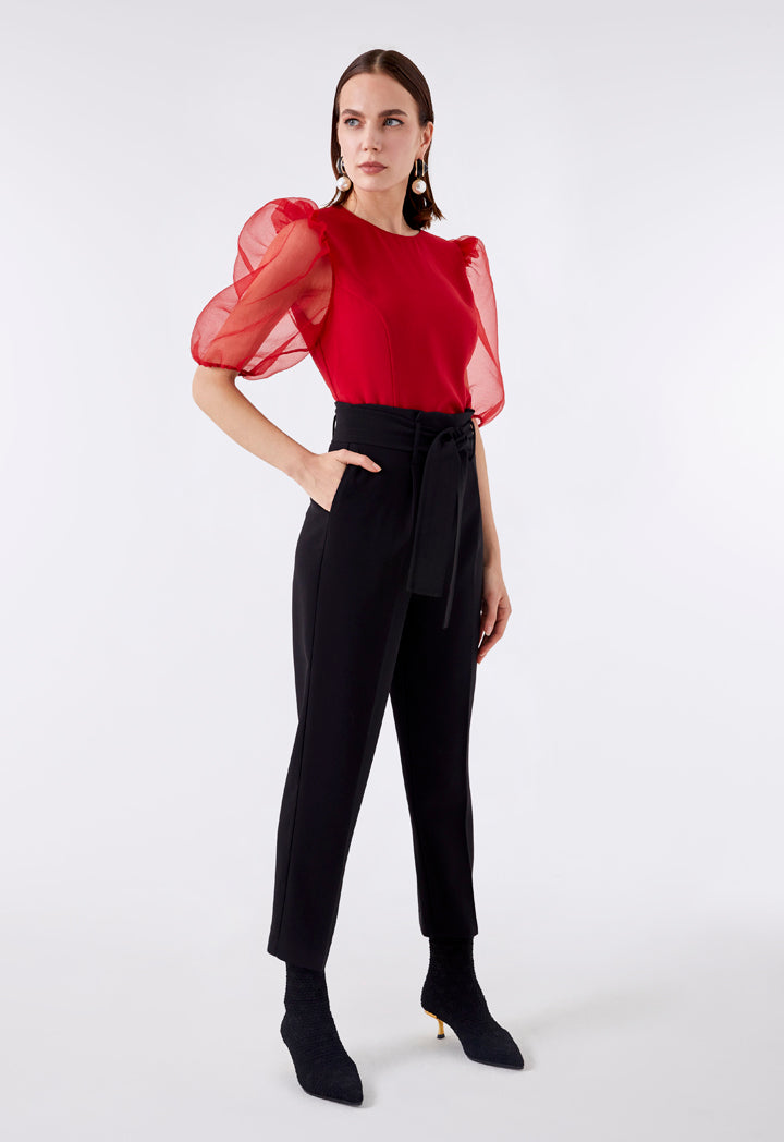 Choice Organza Puff Sleeves Blouse  Red - Wardrobe Fashion