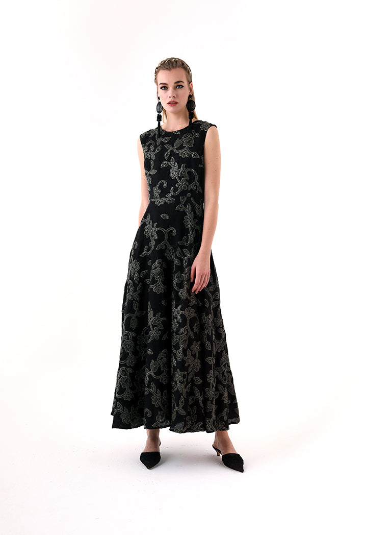 Choice Sequins Embroidery Sleeveless Dress Black - Wardrobe Fashion