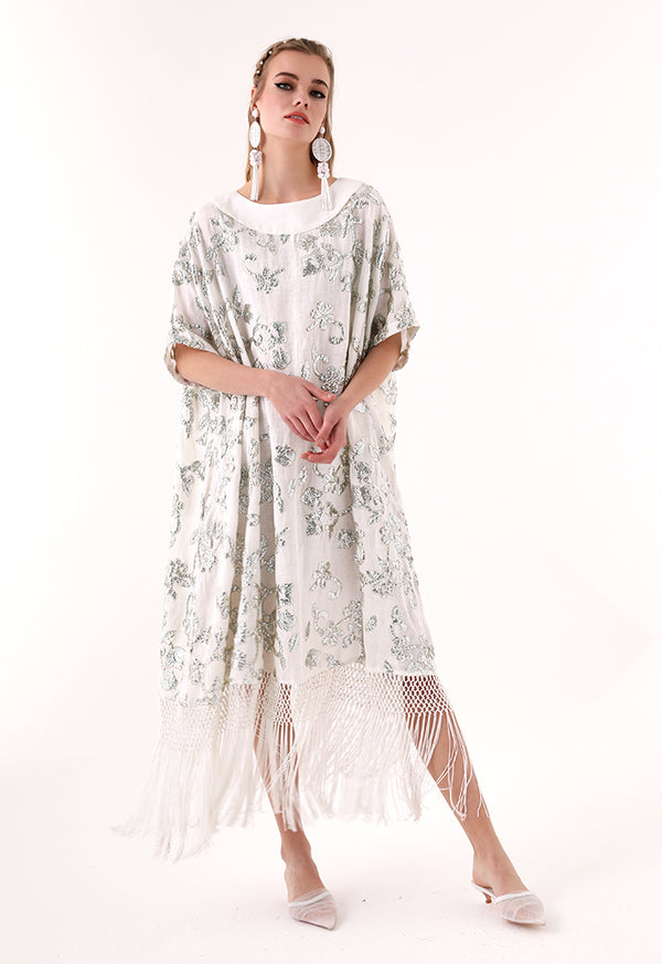Choice Sequins Embroidery Dress Offwhite - Wardrobe Fashion