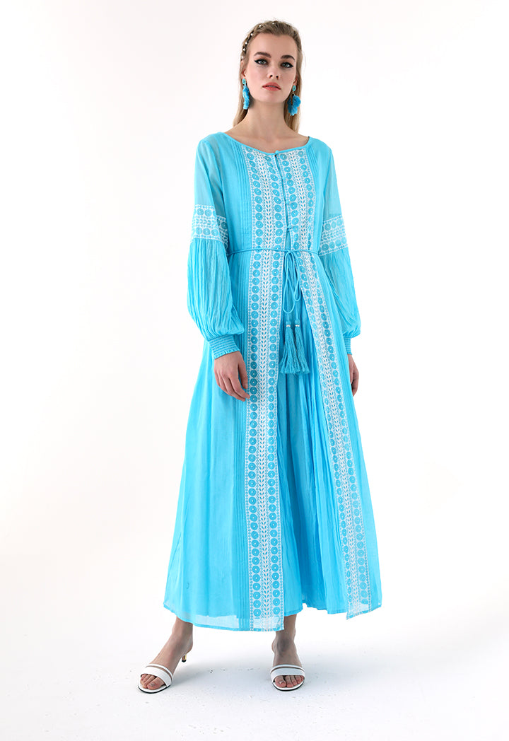 Choice Printed Beadwork Abaya Blue - Wardrobe Fashion