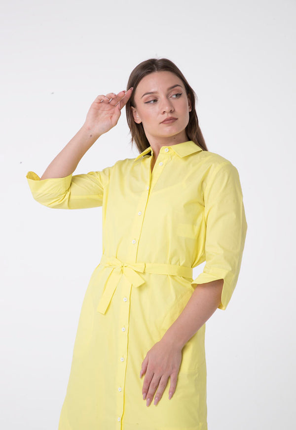 Apanage Short Sleeve Belted A-Line Shirt Dress Yellow