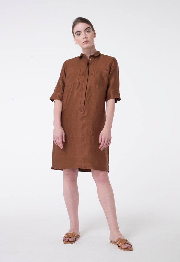 Apanage Linen Double Pocket Long Sleeve Shift Shirt Dress Brown