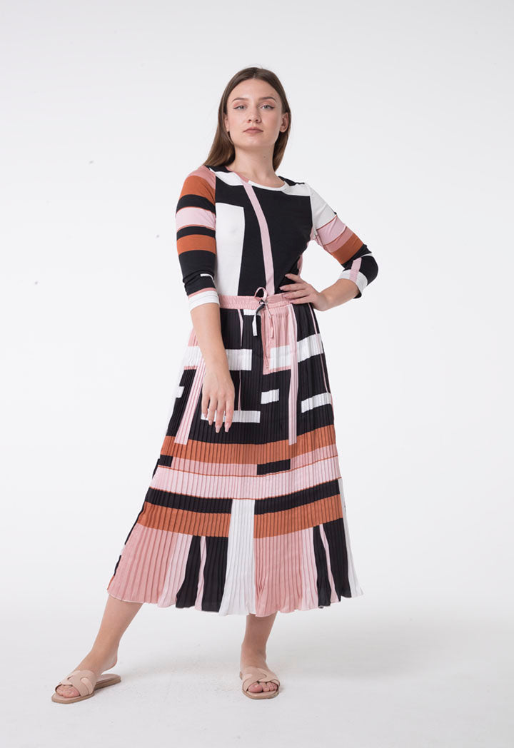 Apanage Printed Drawstring Waist Pleated A-Line Skirt Multi Color