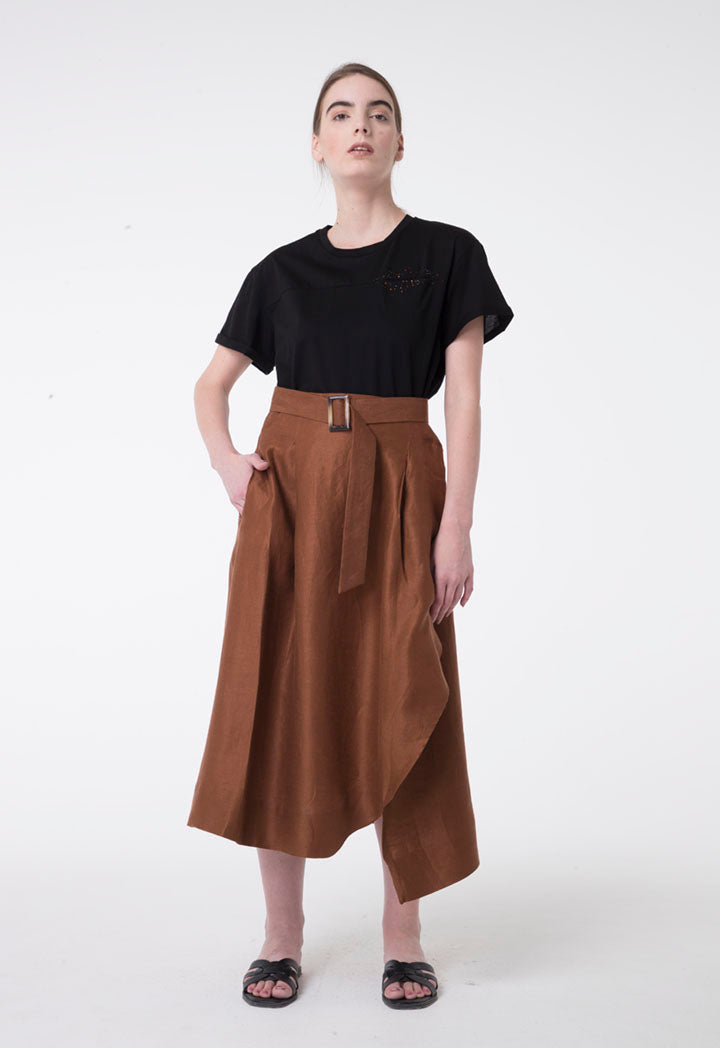 Apanage Linen Overlap Belted A-Line Skirt Brown