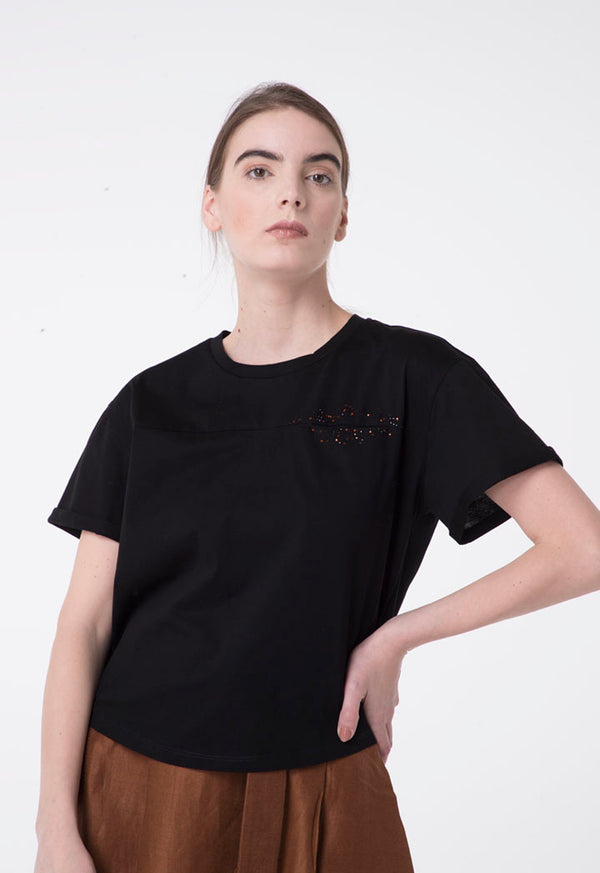 Apanage Front-Embellished Short Sleeve T-Shirt Black