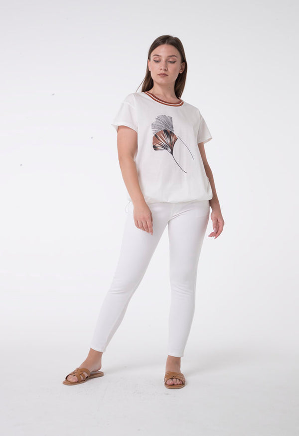 Apanage Flower Print T-Shirt With String To Adjust Hem Off White