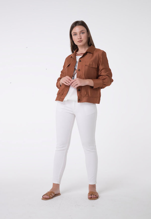 Apanage Linen Long Sleeve Double Pocket Shirt  Brown
