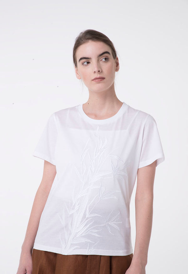 Apanage Embroidered Print Short Sleeve T-Shirt White