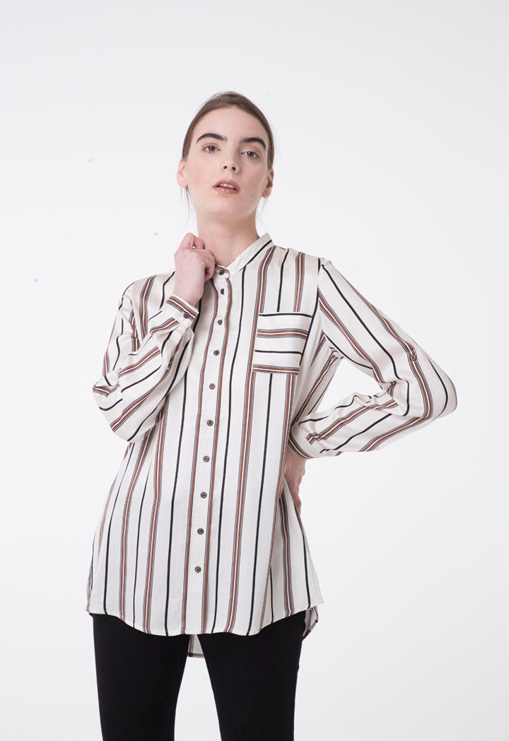 Apanage Striped Long Sleeve Single Pocket Dip Hem Shirt Multi Color