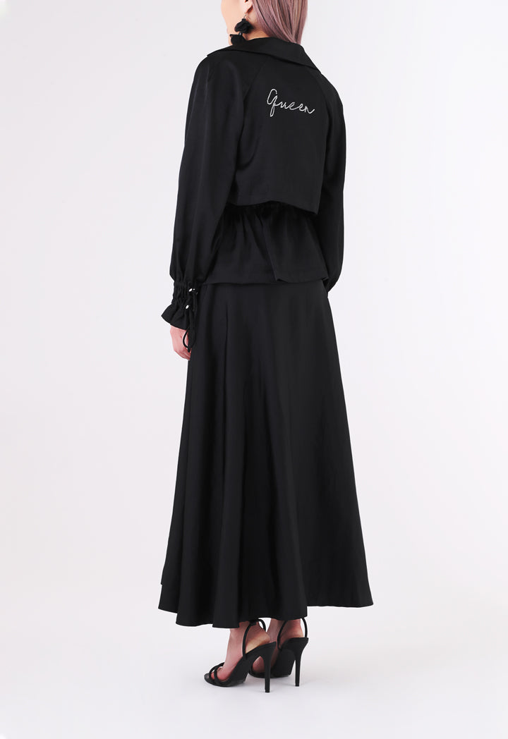 BERRIN Plain High Waist Skirt BLACK