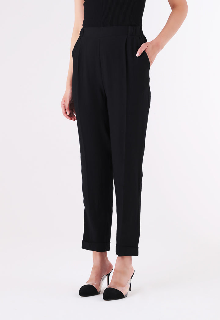 BERRIN Plain High Waist Trouser BLACK