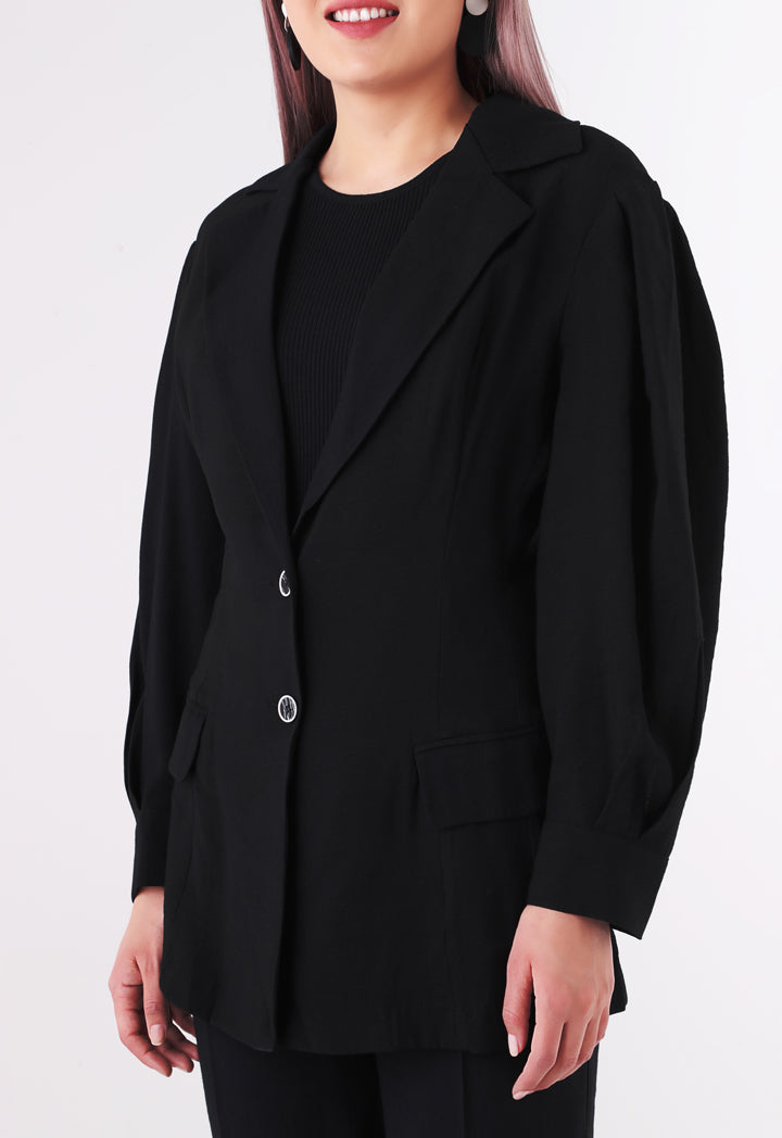 BERRIN Notch Collar Single Breasted Jacket BLACK