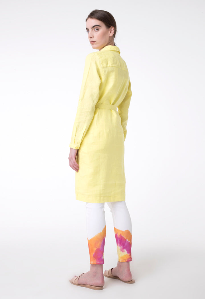 Brax Linen Long Sleeve Belted A-Line Shirt Dress Yellow
