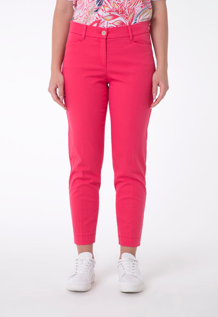 Brax Satin Slim Fit Trouser Coral