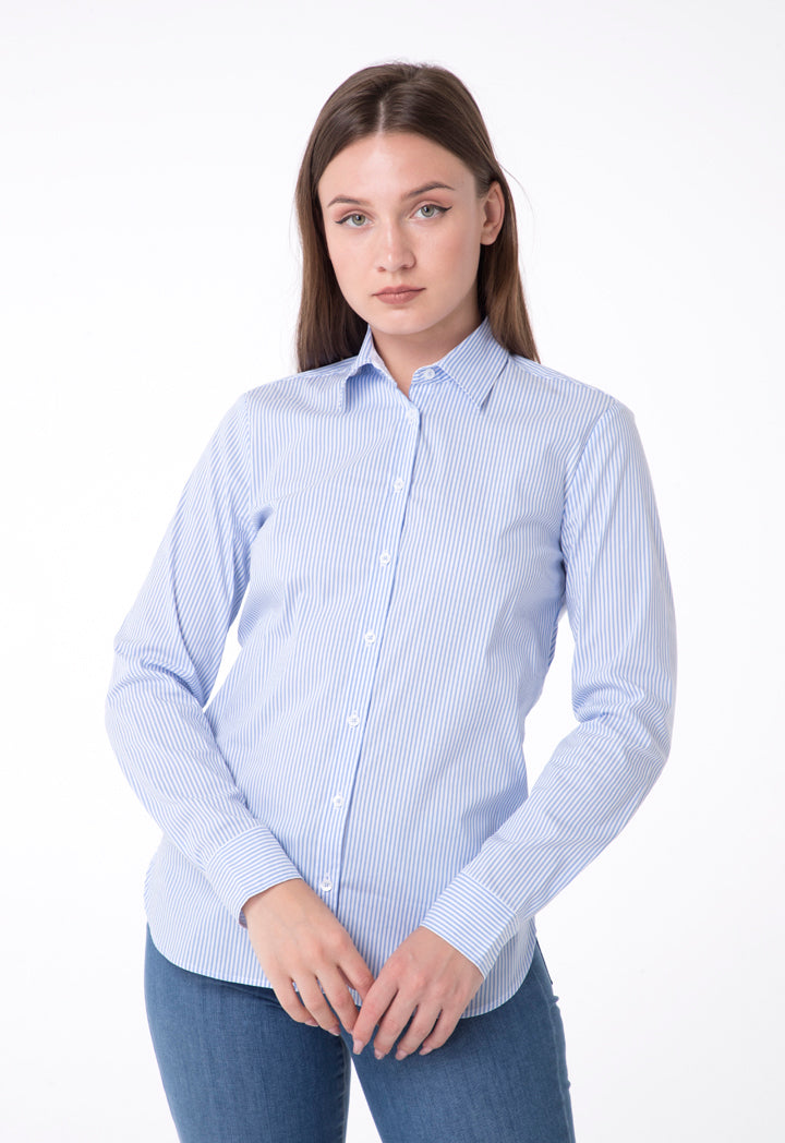 Brax Striped Long Sleeve Relaxed Fit Shirt Blue