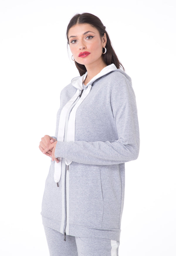 Choice Hooded Jacket With Front Shimmering Tape Grey