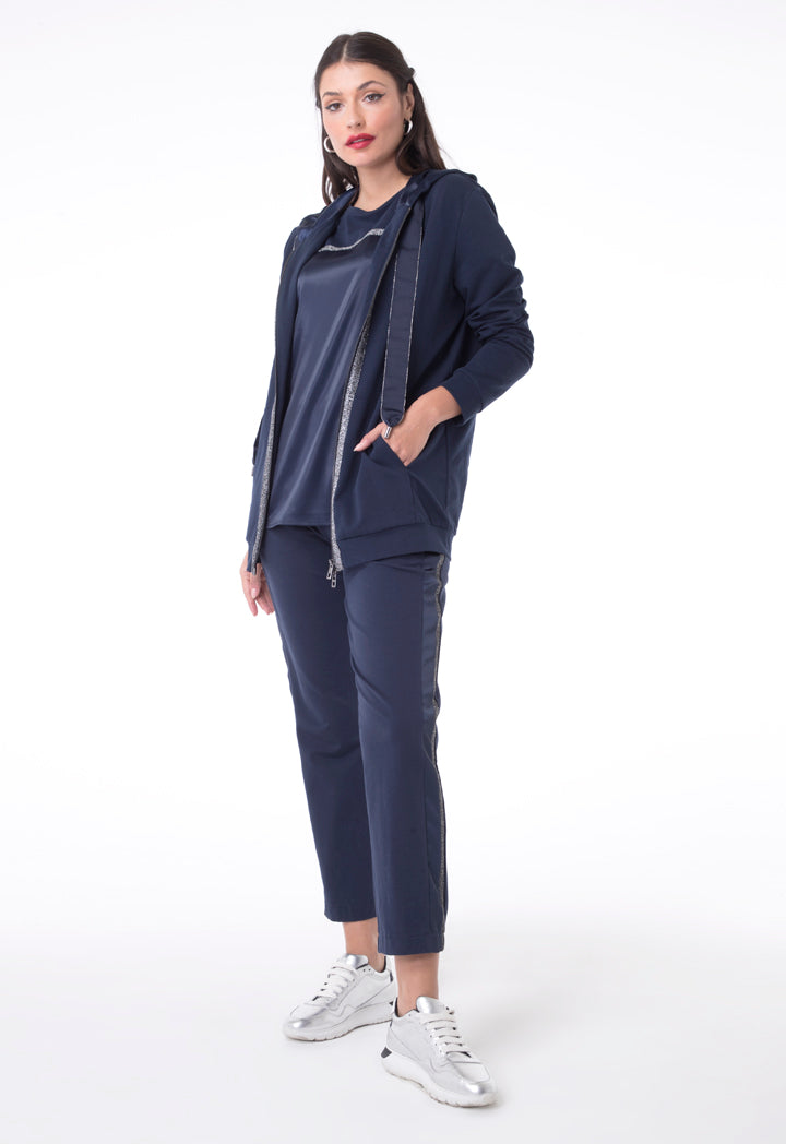 Choice Hooded Jacket With Front Shimmering Tape Navy