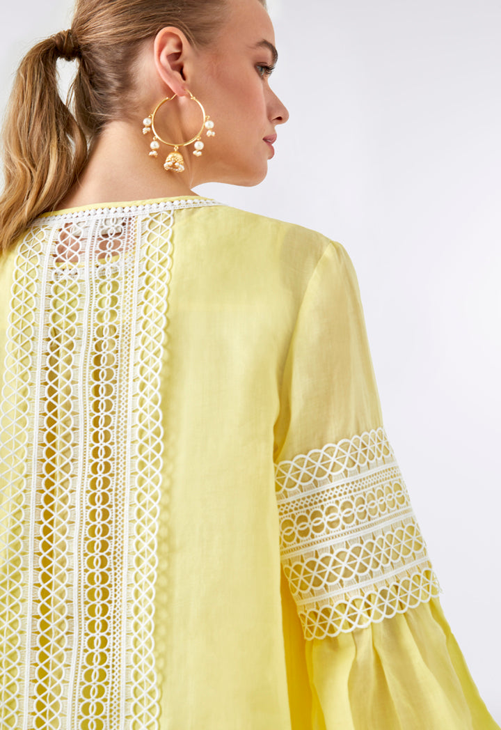 Choice Lace Crochet Overlay Outerwear Yellow - Wardrobe Fashion