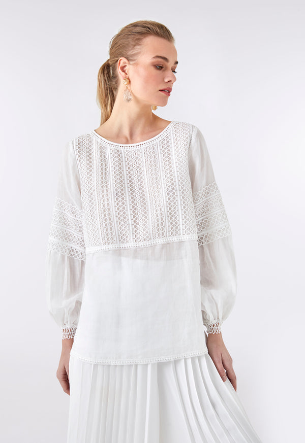 Choice Lace Embroidered Blouse Off White - Wardrobe Fashion