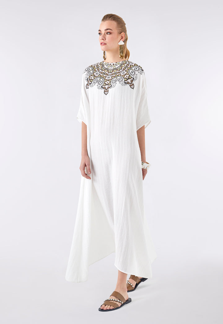Choice Pleated Contrast Print Maxi Dress Off White - Wardrobe Fashion
