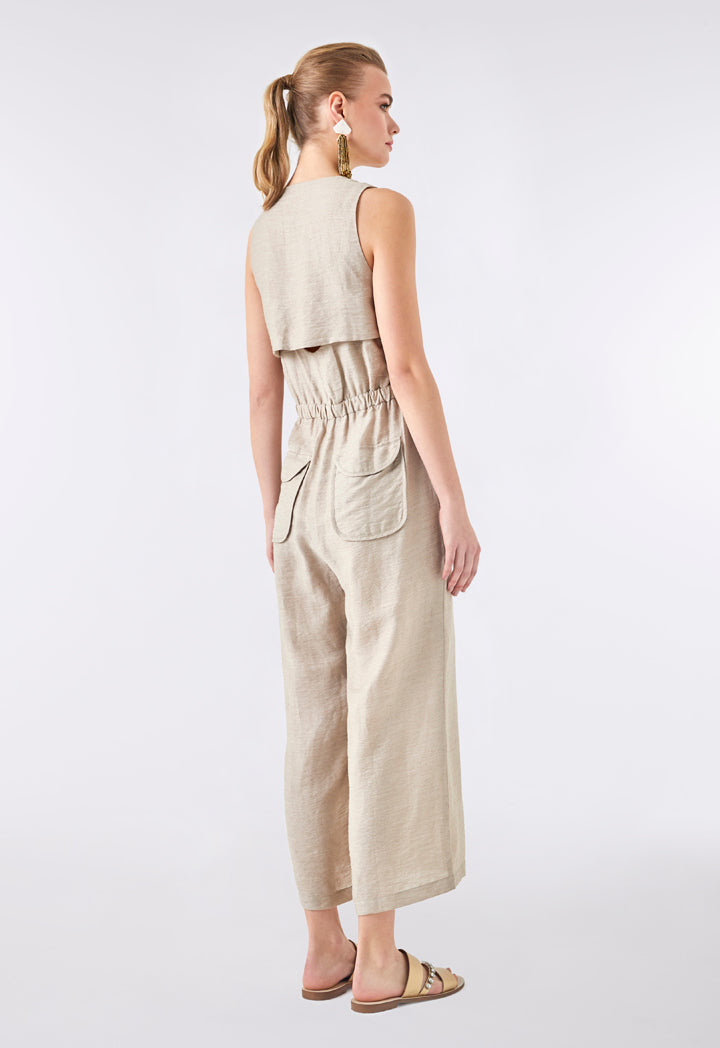 Choice Drawstring Waist Sleeveless Jumpsuit Beige - Wardrobe Fashion