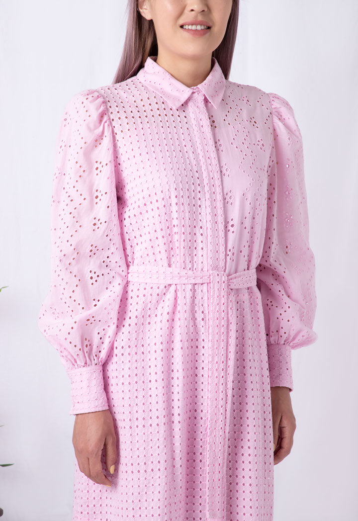 Choice Schiffli Shirt Dress Pink - Wardrobe Fashion