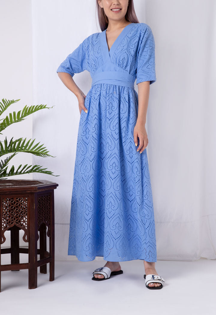 Choice V-Neck Schiffli Long Dress Blue - Wardrobe Fashion