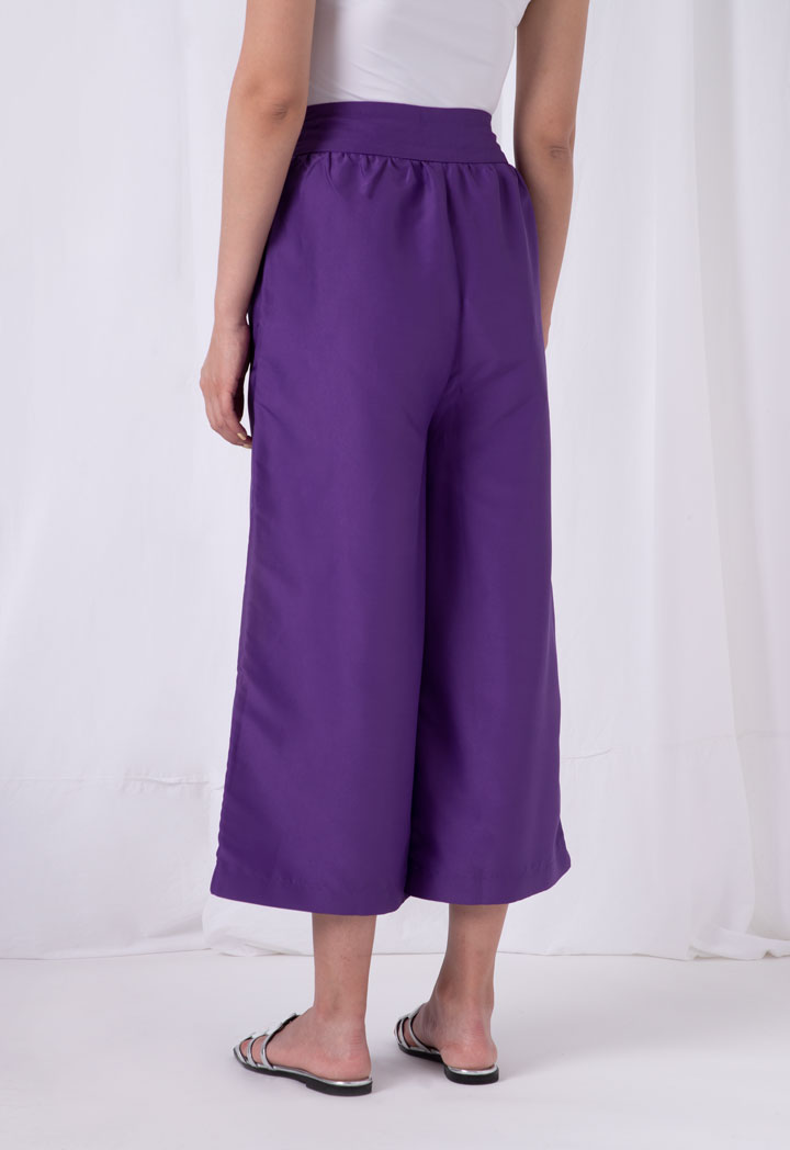 Choice Solid Wide Leg Taffetta Pants Purple - Wardrobe Fashion