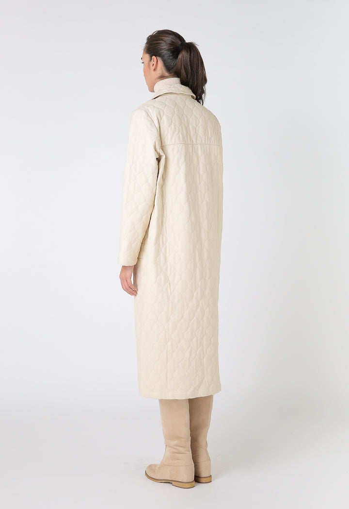 Choice Textured Trench Coat Satin Lining Beige
