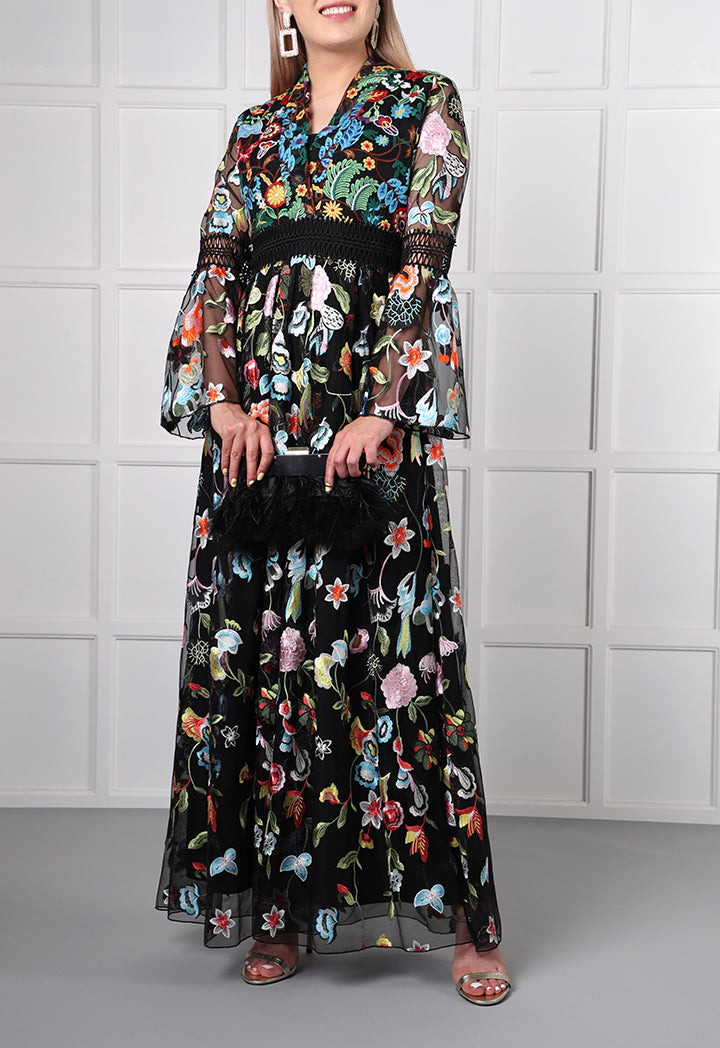 Choice Lace Detailed Maxi Dress Multicolor - Wardrobe Fashion
