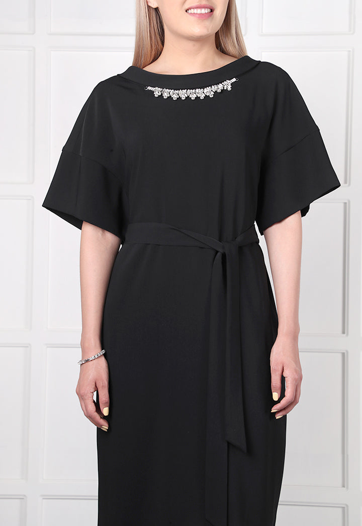 Choice Necklace Embellished Kimono Dress Black - Wardrobe Fashion