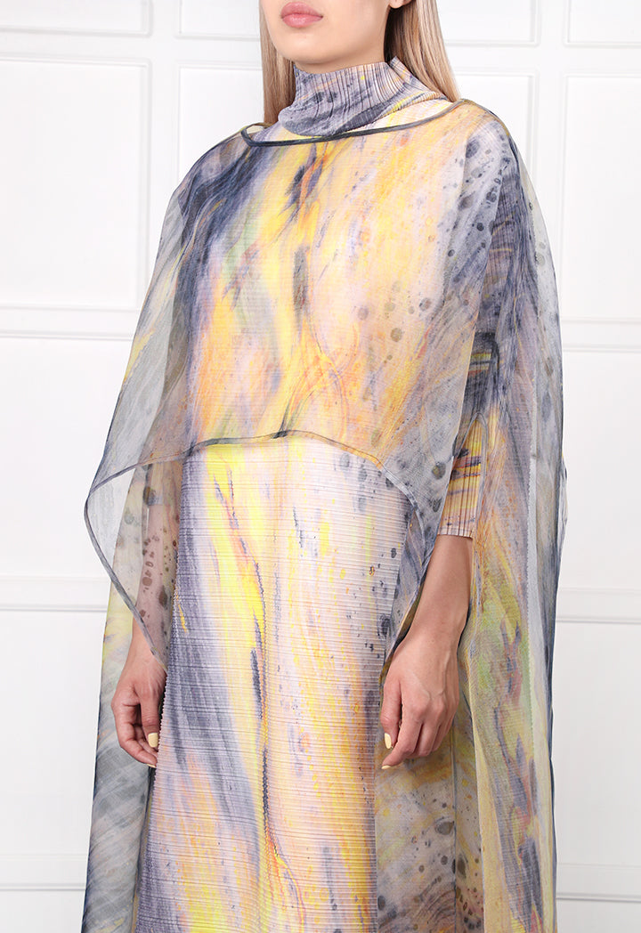 Choice Printed Chiffon Poncho Yellow - Wardrobe Fashion