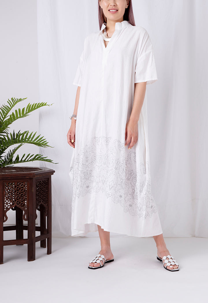 Choice Chinese Collar Long Dress Offwhite - Wardrobe Fashion