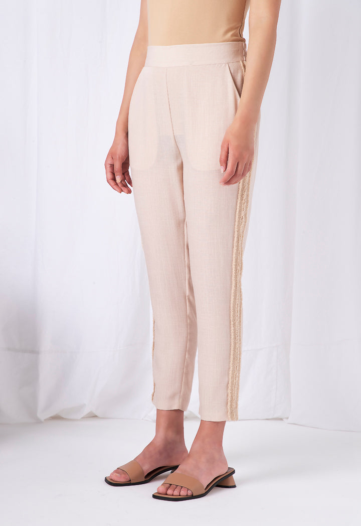 Choice Lurex Side Tape Linen Trouser Beige - Wardrobe Fashion