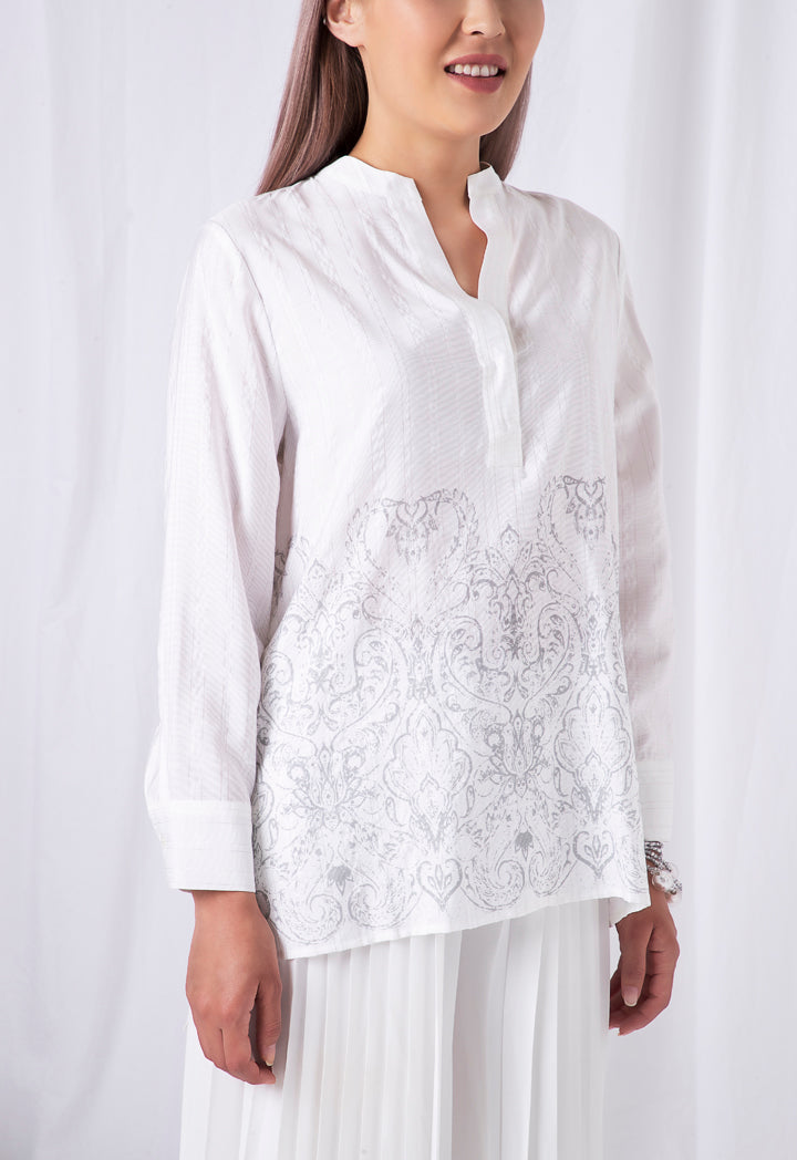 Choice Pattern Print Blouse Offwhite - Wardrobe Fashion