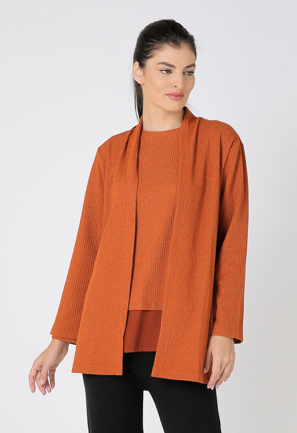 Choice Long Sleeve Open Front Knitwear Orange
