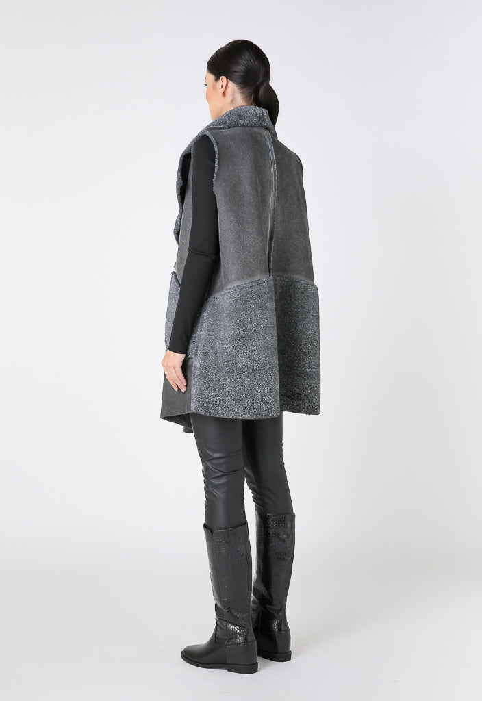 Choice Sleeveless Open Front Outerwear Grey