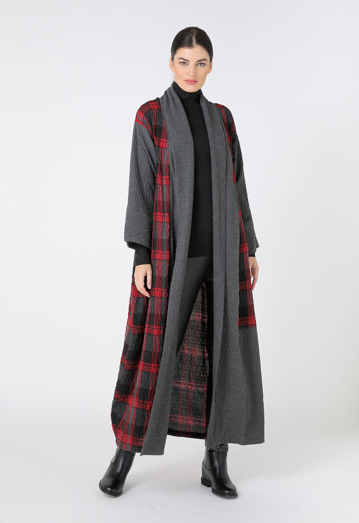Choice Plaid Long Sleeve Maxi Outerwear Red