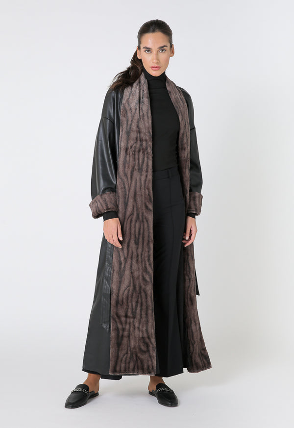 Choice Leather Fabric Mix Maxi Outerwear Black