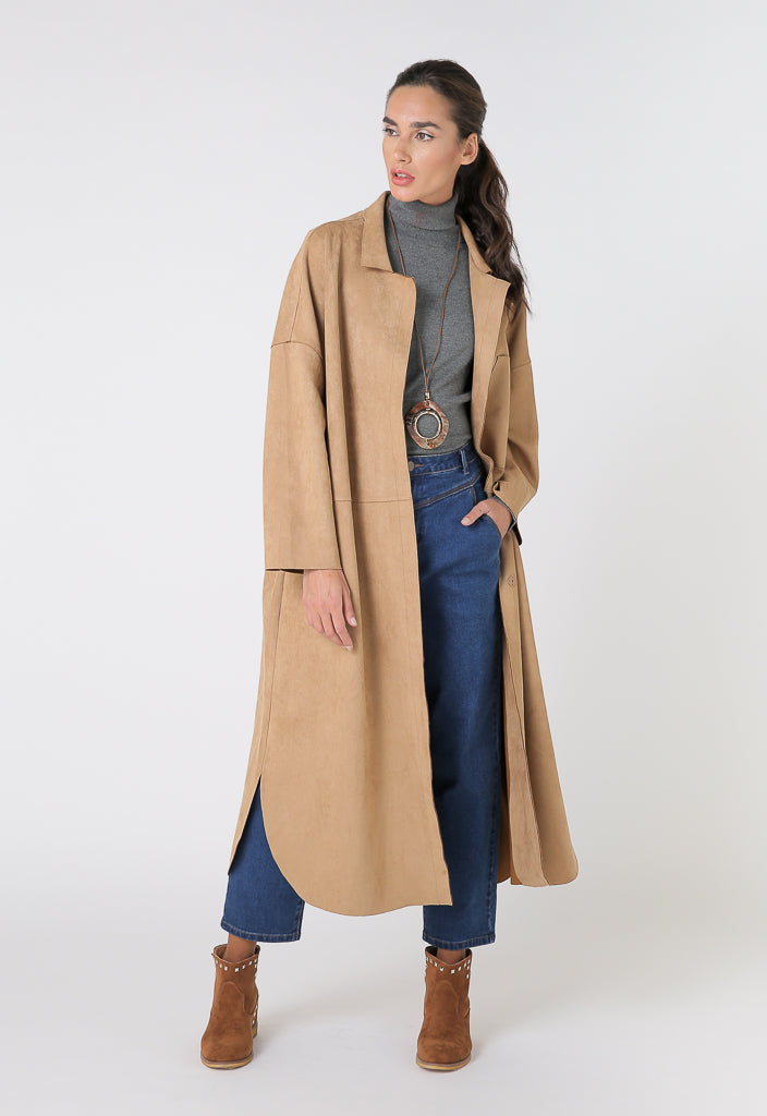 Choice Long Sleeve Midi Outerwear Caramel