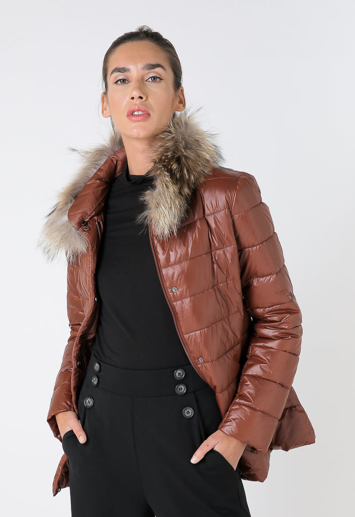 Choice Quilted Fur Detail Puffer Jacket Terracotta